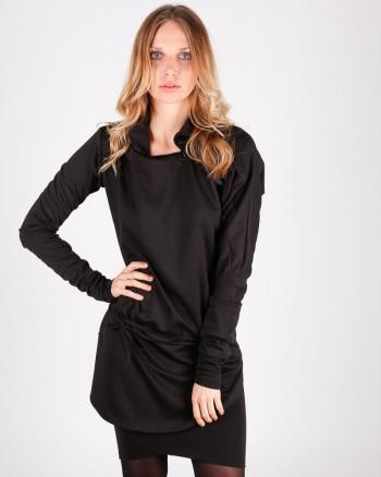 kaseee Kleid schwarz mit Ledergürtel